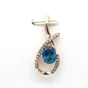 LE VIAN 14K ROSE GOLD 2.20 CTW OVAL BLUE TOPAZ ROUND DIAMOND PENDANT #D104-2