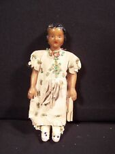 "Vintage Celluloid 5"" Doll in Native American Dress, Leggings, Beaded 1930-1940"