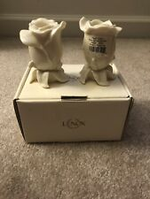 Pair of Lenox Rose Bud Candlesticks~Candle Holders Floral Gallery Collection New