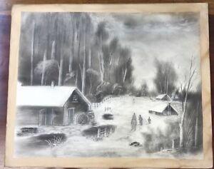Antique 19thC Primitive Charcoal Folk Art American Landscape Drawing