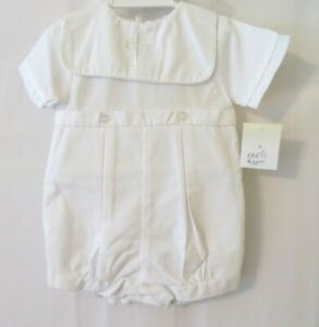 Petit Ami Embroidered Cross Christening Romper & Hat 2711 Wht 3, 6 or 9M #10386