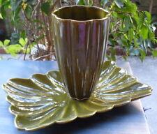 NEW Ceramic Olive Green Vanity Dresser Decor~Tray Platter Vase Holder ~Vintg 80s