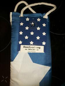 Textil Duschvorhang 180x200 blau mit Sternen waschbar neu & OVP mit Zugabe
