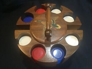 Poker Chip Caddy / Holder / Rack  Mid-Century Solid Wood Inlaid Duck in Flight