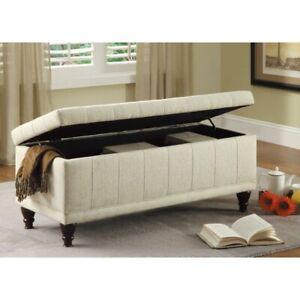 Cream Fabric Lift Top Storage Bench