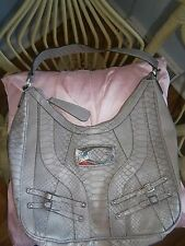 GUESS Gray Faux Snake shoulder bag Big Emblem Unused