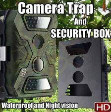 Wildlife Camera and FREE Security Box low glow LED Animal Trap Trail 12MP HD UK
