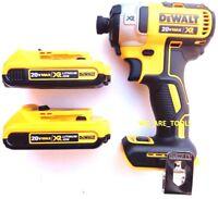 """NEW Dewalt DCF887 Brushless 20V Cordless 1/4"""" Impact, 2 DCB203 Batteries 20 Volt"""
