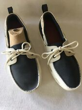 Crocs Men's Size 9 Beach Line Leather Slip On Boat Shoes Loafers Navy & Gray