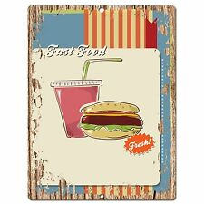 PP0538 Fast Food Plate Chic Sign Bar Store Shop Cafe Restaurant Kitchen Decor