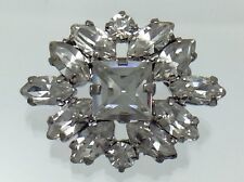 Vintage Deco Style Clear Rhinestones Ladies Brooch E335