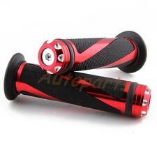 """UNIVERSAL MOTORCYCLE RUBBER GEL HAND GRIPS FOR 7/8"""" HANDLEBAR SPORTS BIKES RED"""