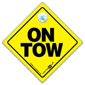 On Tow Sign Suction Cup Car Sign For Vehicles Being Towed, Car Safety Sign