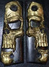 1911 Full size pistol grips large gold skull on black plastic