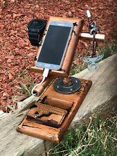Docking Station Hard Wood, Cell Phone Stand for Men - Wooden Desk Organizer for