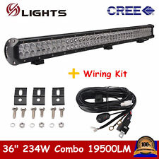 36INCH 234W LED WORK LIGHT BAR COMBO OFFROAD FORD CAR BOAT TRUCK SUV+WIRES 34/38