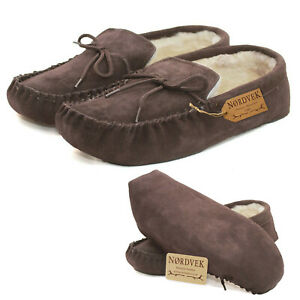 Nordvek Mens Genuine Suede Moccasin Slippers Sheepskin Lined Soft Sole - Brown