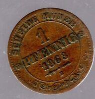 Altdeutschland - 1 Pfennig Königreich Sachsen 1863 B in sehr schön/vorzüglich
