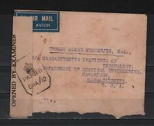 INDIA 1944 CENSORED COVER TO US MIT CHEMICAL ENGINEERING DEPT AIRMAIL CINDERELLA