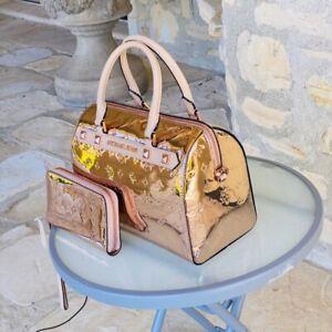 NWT Michael Kors Kara metallic duffle bag/wallet options rose Limited Edition