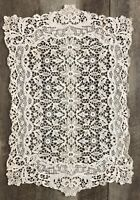 ANTIQUE VINTAGE BOBBIN LACE DOILY FLORAL OFF WHITE