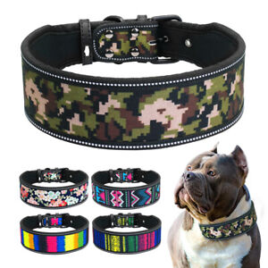 "Soft Padded 2"" Wide Dog Collars for Large Dogs with Flower Printing Reflective"