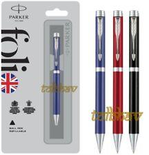 Parker Folio Standard Ball Point Pen Chrome Trim CT Black Blue Red Body Blue Ink