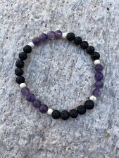 Amethyst & Lava Stone Beaded Bracelet For Anxiety/Essential Oils