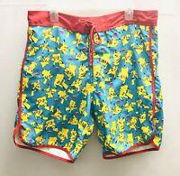Pokemon Men's Swim Trunk Board Shorts Size XL Pikachu Drawstring Surfers Shorts