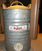 Vintage Galvanized Igloo Metal Water Cooler 5 Gallon Jug Silver USA Cup Holder
