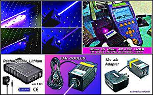 UV LASER  FAN COOLED MODULE 500mw@405nm +12V A/C +12V D/C 2.5AH LI Power Supply