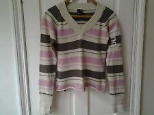 Ladies Bench Jumper Size M, UK 12, Fine Knit, VGC, Pink, Cream, Brown Stripe