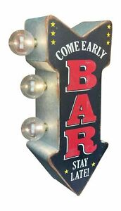 BAR Come Early Stay Late! LED Sign, Arrow Shaped Double Sided, Beer Man Cave Pub
