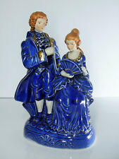 GRAND ANCIENNE STATUETTE EN PORCELAINE BARBOTINE BLEU DE FOUR Ht24cm