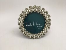 Nicole Miller Faux Pearl & Crystal Rhinestone Round Easel Back Picture Frame-New