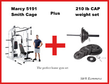 🔥New Marcy MD-5191 Smith Cage Home Gym  and 210 lb weight set