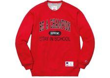 Supreme Champion Men's XL crewneck sweatshirt Stay In School red extra large