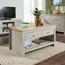 Grey Oak Coffee Table 2 Drawer Occasional Reception Table Metal Handles Dorset