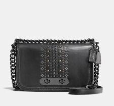 NWT COACH 55631 Bandana Rivets Swagger Shoulder Bag in Glovetanned Leather Black