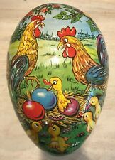 Antique German Paper Mache Chicks Hatching Hen Easter Egg Candy Container Large