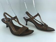 CYDWOQ VINTAGE brown leather sculpted low heel sandals size 38