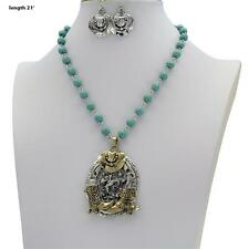 """18-21"""" WESTERN TURQUOISE HAT HORSE BOOTS RHINESTONE SPUR NECKLACE EARRINGS SET"""