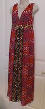 Nicole Miller Boho Geometric Empire Waist Hippie Maxi Long Dress Sz 4 Small LN