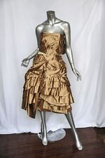 PRADA Soft *GOLD SILK SATIN* Tiered Ruffled STRAPLESS Evening Dress M/6 42