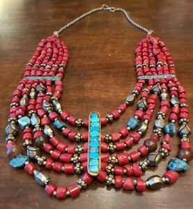 """Red Coral~Turquoise~Silver~Draping Statement~Tibetan Beaded Necklace~Indian 15""""L"""