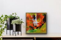 Small Abstract Artwork Modern Painting Gifts red orange light green Art  Trust 2