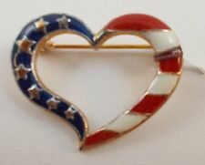 AVON Patriotic STARS & STRIPES Enameled Heart Pin Brooch - T2