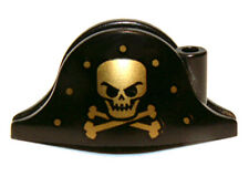 LEGO - Minifig, Headgear Hat, Pirate Bicorne w/ Gold Skull & Crossbones - Black