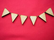 100 x 2cm wide MINI  WOODEN BUNTING TRIANGLES WITH 2 HOLES  LASER CUT MDF