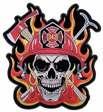 Large Firefighter Skull Flames Embroidered Biker Patch FREE SHIP